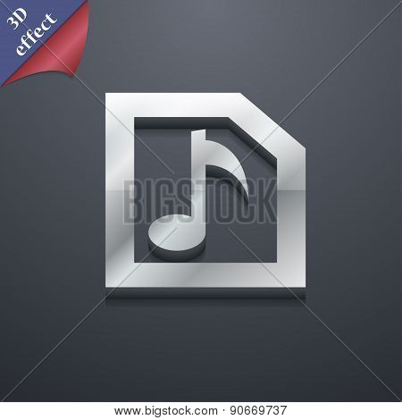 Audio, Mp3 File Icon Symbol. 3D Style. Trendy, Modern Design With Space For Your Text Vector