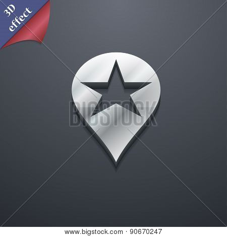 Map Pointer Award, Gps Location Icon Symbol. 3D Style. Trendy, Modern Design With Space For Your Tex