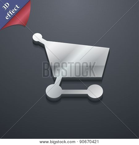Shopping Basket Icon Symbol. 3D Style. Trendy, Modern Design With Space For Your Text Vector