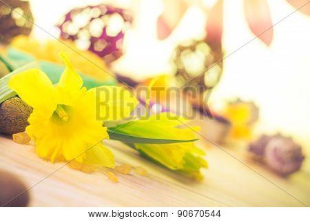 Spa Setting Flower Zen Stones