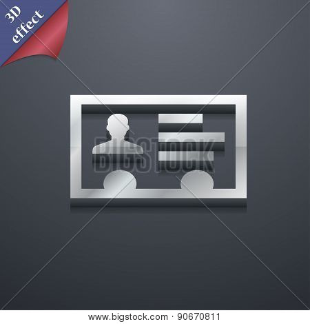 Id Card, Identity Card Badge, Cutaway, Business Card Icon Symbol. 3D Style. Trendy, Modern Design Wi