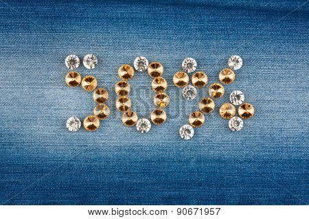 Fifty Percent Made From Crystals On Jeans Fabric
