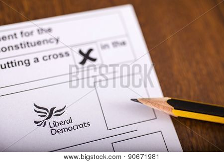 Liberal Democrats On A Ballot Paper
