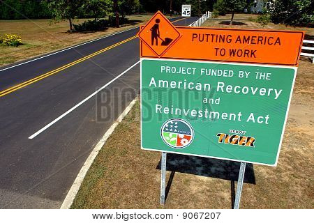 American Recovery And Reinvestment Act Road Sign