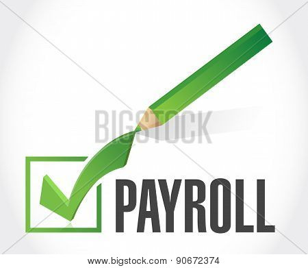 Payroll Check Mark Sign Concept Illustration