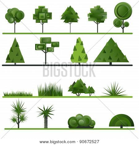 Set of abstract trees, shrubs, grass on a white background.