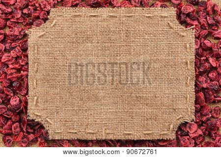 Figured Frame Made Of Burlap On Dried Cranberry