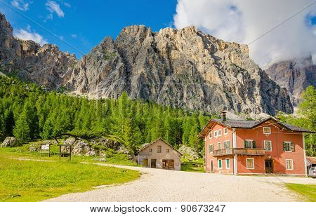 Farm with sheep, Dolomites Mountains, Italy