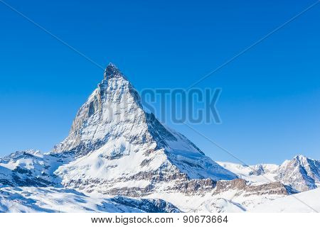 Close View Of Matterhorn On A Clear Sunny Day