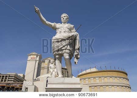 A statue in front of Caesars Palace in Las Vegas.