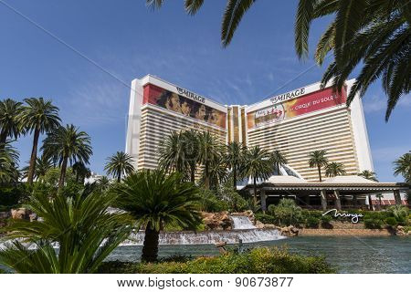 A daytime view of the Mirage hotel in Las Vegas.