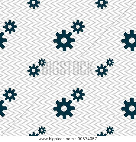 Cog Settings,  Cogwheel Gear Mechanism Icon Sign. Seamless Pattern With Geometric Texture. Vector