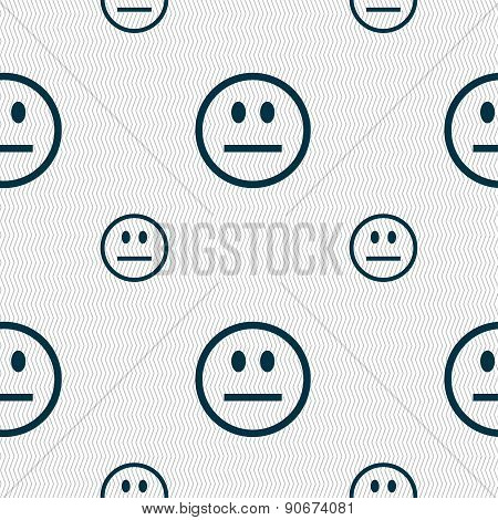 Sad Face, Sadness Depression Icon Sign. Seamless Pattern With Geometric Texture. Vector