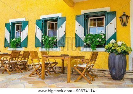 Mountain restaurant in tourist destination, Alps