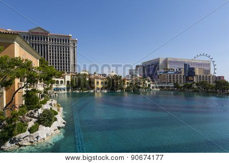 A view of Las Vegas from the Bellagio hotel.