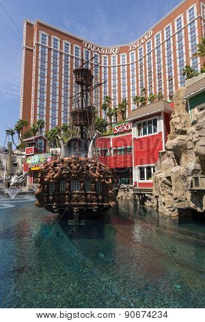 A day time view of the Treasure Island hotel in Las Vegas.