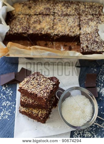 Chocolate brownie cake with coconut