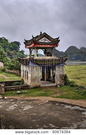 Masonry Arbor Pagoda In Scenic Farming Area Rural China, Guangxi.