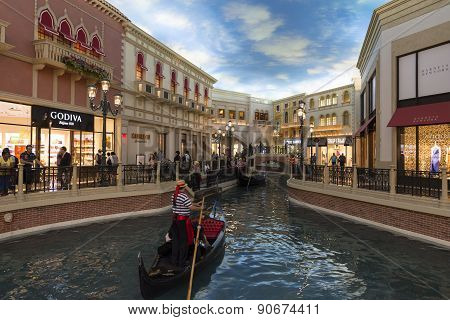 The canal inside of the Venetian hotel in Las Vegas, Nevada.