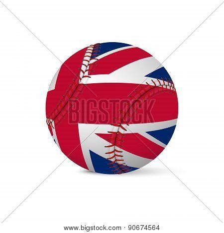 Baseball with flag of UK, isolated on white