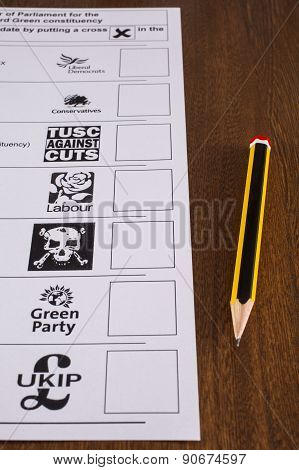 Uk Ballot Paper And Pencil