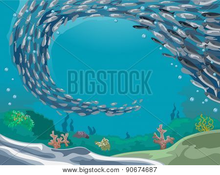 Illustration of a School of Fish Making a Huge Fish Formation