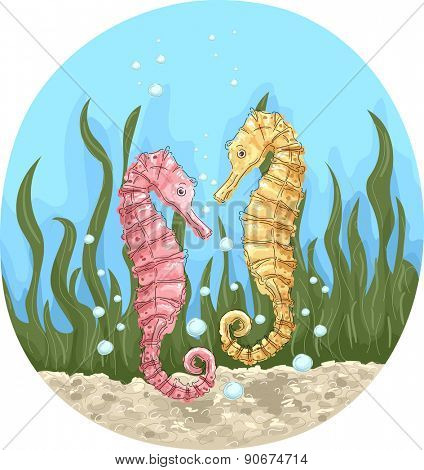 Illustration of a Pair of Colorful Seahorses Hanging Together