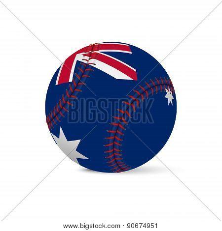 Baseball with flag of Australia, isolated on white