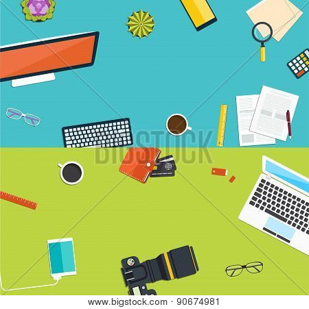 Creative Workplace  Design. Concept Of Office Equipment, Icons Set And Objects Of Business Process