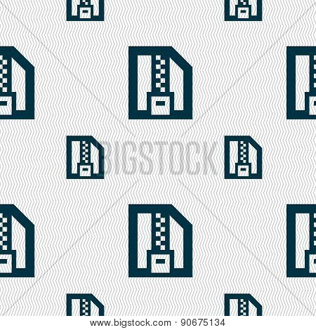 Archive File, Download Compressed, Zip Zipped Icon Sign. Seamless Pattern With Geometric Texture. Ve