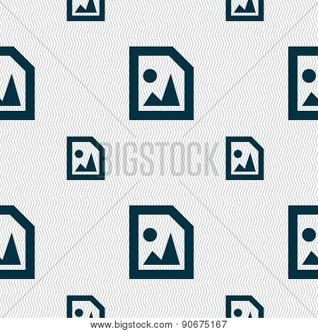 File Jpg Icon Sign. Seamless Pattern With Geometric Texture. Vector