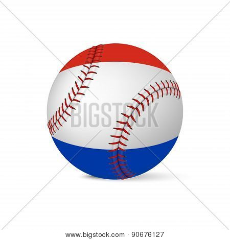 Baseball with flag of Netherlands, isolated on white