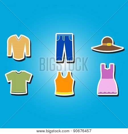 set of color icons with  garments