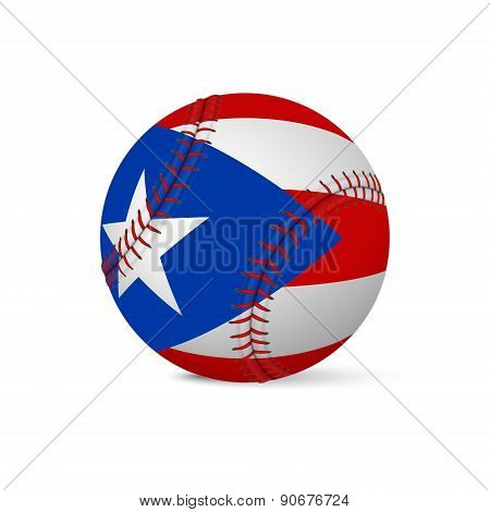 Baseball with flag of Puerto-Rico, isolated on white
