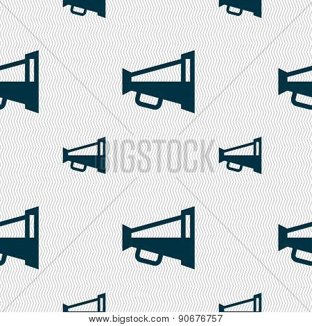 Megaphone Soon, Loudspeaker Icon Sign. Seamless Pattern With Geometric Texture. Vector