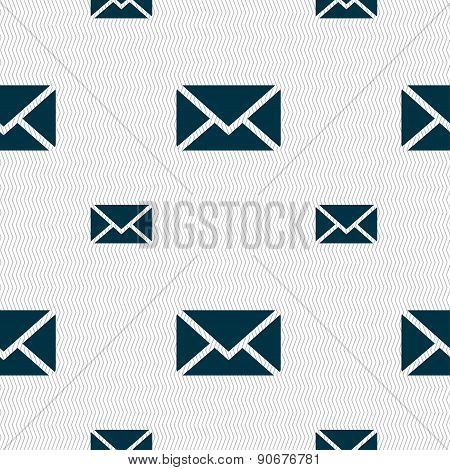 Mail, Envelope, Message Icon Sign. Seamless Pattern With Geometric Texture. Vector