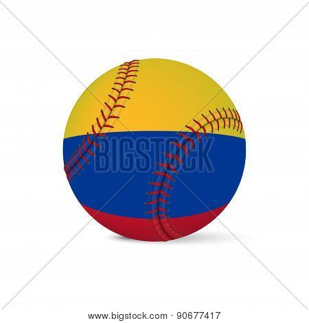 Baseball with flag of Colombia, isolated on white