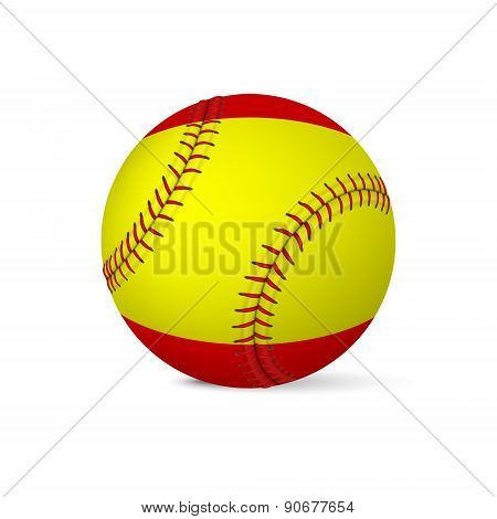 Baseball with flag of Spain, isolated on white