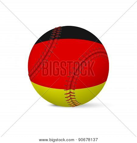 Baseball with flag of Germany, isolated on white