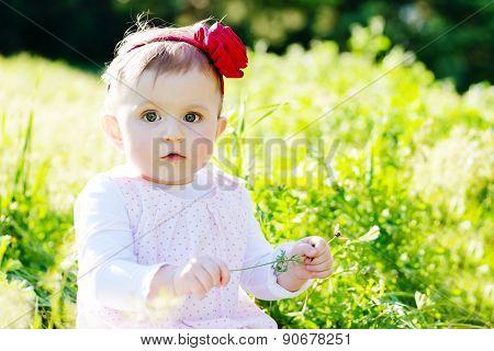 Girl On Meadow