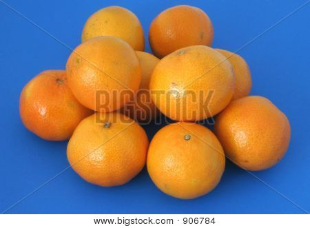 Mandarins On Blue