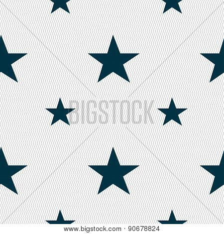 Star, Favorite Icon Sign. Seamless Pattern With Geometric Texture. Vector