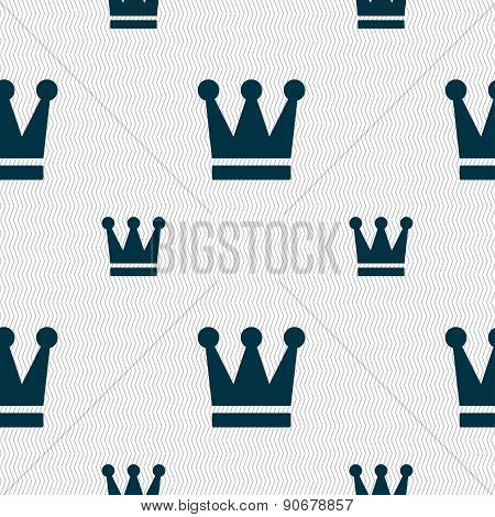 King, Crown Icon Sign. Seamless Pattern With Geometric Texture. Vector