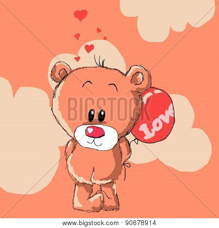 Teddy Bear With Red Balloon.