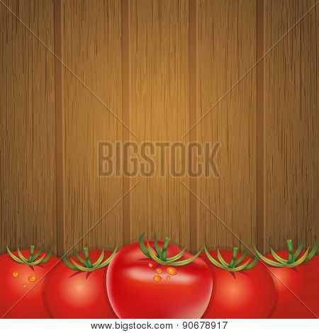 Wood Background With Tomatoes, Vector Illustration