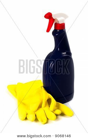 Cleaning Spray And Rubber Gloves