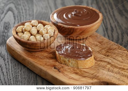 baguette with chocolate spread with nuts
