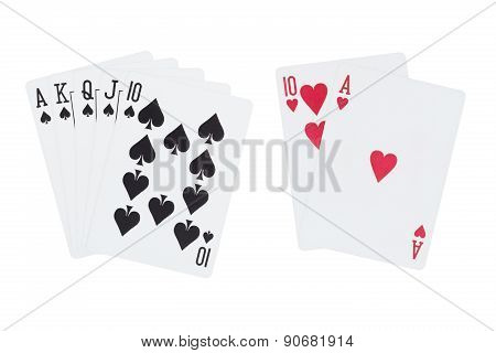Royal Straight Flush of Spades And blackjack Cards