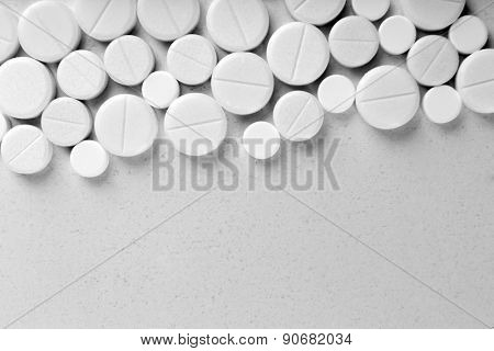 Many pills isolated on white