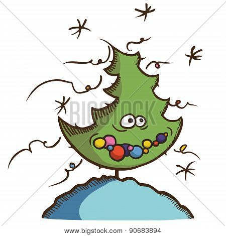Christmas Tree Funny Cartoon Vector